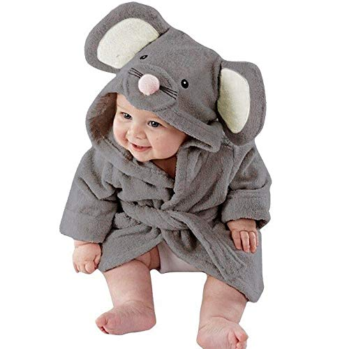 OverDose Damen Baby Jungen Mädchen Kinder Bademantel Cartoon Tiere Nette Weiche Licht Saugfähige Kapuze Handtuch Pyjamas Kleid(Grau,4-5 Jahre)