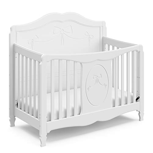 Storkcraft Princess 4in1 Fixed Side Convertible Crib White Easily Converts to Toddler Bed Day Bed or Full Bed 3 Position Adjustable Height Mattress