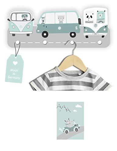 Kindsblick® Wild Cars Kindergarderobe in Mintgrün incl. DIN A4 Poster – Garderobe mit 4 Kleiderhaken für Kinder – Wunderschöne Deko für jedes Kinderzimmer
