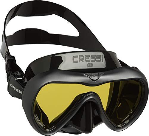 Cressi A1 Mask Lens Antifog Máscara de Buceo y apnea antivaho de Vidrio, Unisex-Adult, Negro/Grafito/Lente Amarillo, Talla única