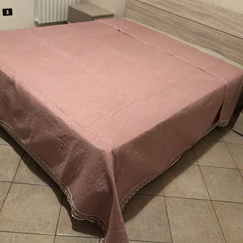 Blanco Raya sprei voor tweepersoonsbed, van stof, met gehaakte kanten rand