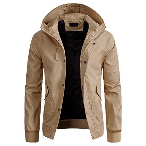AOWOFS Herren Übergangsjacke Leicht mit Kapuze Herrenjacke für Herbst Winddichte Jacke für Männer, Khaki, Gr. L