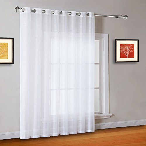 """Warm Home Designs 1 Extra-Wide Bright White Sheer Patio Curtain Panel 102 x 84 Inch Long with Grommets. Designed as Patio Door, Sliding Glass Door, or Room Divider Drape - K Patio White 84"""""""