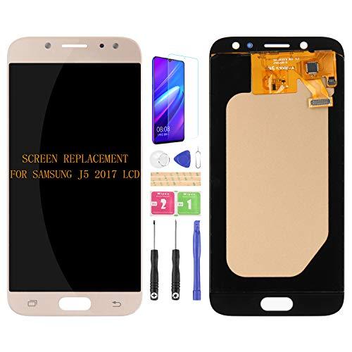 Para Samsung Galaxy J5 2017 J530 J530F J530S J530K J530L J530FM J530Y J530YM Pantalla LCD de Reemplazo de Digitalizador de Cristal Kit de Montaje de Cristal, Película Templada
