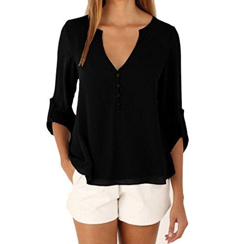 DRESHOW Women's Blouse 3 4 Sleeve Shirt Casual Chiffon Tops Button Down Shirts for Work Daily Wear