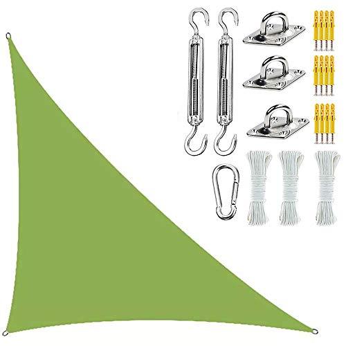 LQQZZZ Triangle Sun Shade Spade Canopy, Tonos De Sol para Patios con Kit De Fijación 300D Material Impermeable Protección UV para Terraza Exterior Jardín Piscina,Verde,3x4x5M
