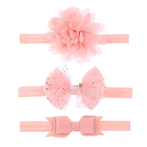 Domybest 3pcs Baby-Mädchen-elastischer Bowknot-Blumen-Stirnband Headwear-Haarband (Rosa)