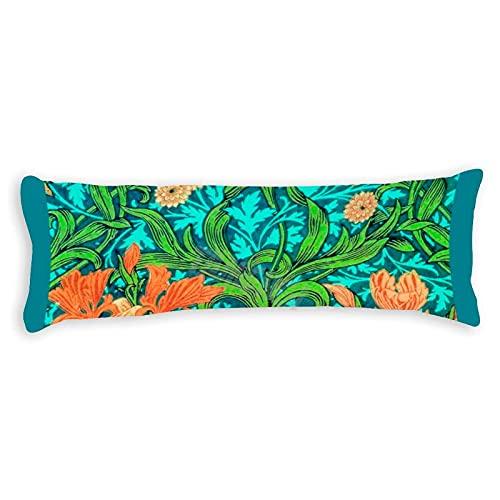 Tamengi William Morris Irises - Fundas de almohada con doble cara, 50 x 54 cm, color naranja y turquesa
