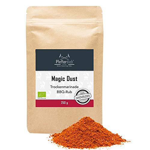 Magic Dust, Premium BIO Gewürzmischung BBQ Rub, Grillgewürz, Marinade für Fleisch, Steak, Pulled Pork, 250g - Pfefferdieb®