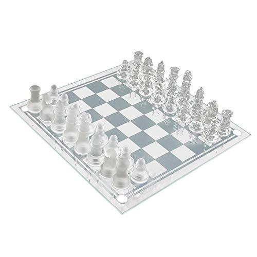 Awayhall Ajedrez de Cristal | Juego de ajedrez de Cristal Esmerilado | Tablero de ajedrez de Cristal | Rejillas Transparentes y Rejillas esmeriladas | Regalo para Principiantes, Amantes del ajedrez