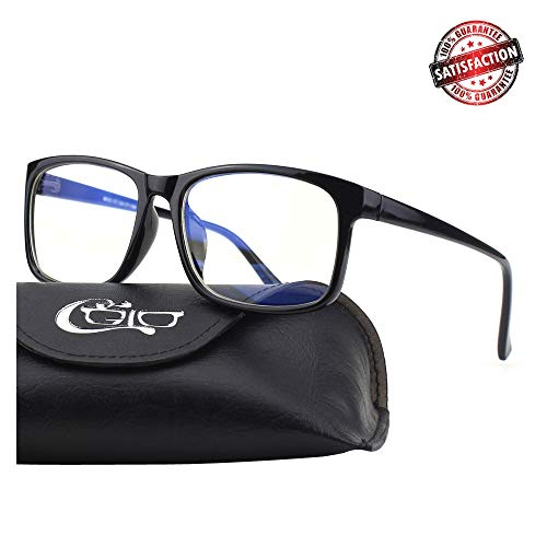 CGID CT56 Horn Rimmed Blue Light Blocking Glasses,Better Sleep,Anti Glare Fatigue Blocking Headaches Eye Strain,Great for Cell Phone Readers,Brown Frame,Transparent Lens 16BL56-2B