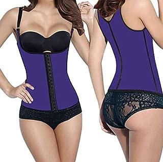 RZDJ 100% Latex Waist Trainer Cincher Faja Girdle Full Vest Body Shaper Steel Boned Corset Women Shapewear Plus Size Shapers (Color : Purple Waist Trainer, Size : 5XL)