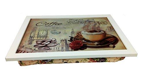 Landhaus Knietablett Coffee Laptop Tablett Bambus Unterlage Klapp Tisch Betttablett Frühstückstablett Serviertablett Tisch Tablett