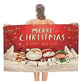 Toalla de baño con diseño de Papá Noel rojo con texto en inglés 'Feliz Navidad Año Nuevo', calidad de hotel de cinco estrellas. Toalla de baño de primera calidad. Suave, felpa y muy absorbente