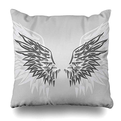 N / A Throw Pillow Cover Square Inches Design Fly Fantasy Wings Decor Winged Hand Speed Drawn Dirty Graphic Animals Wildlife Hawk Emblem Decorative Pillowcase Home Decor Cushion Pillow Case
