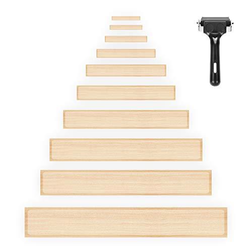 HBselect 15pcs Antirutsch Treppenstufen Stufenmatten mit Einbauwerkzeug, transparente Antirutschstreifen für Treppen Stufen selbstklebend 60cm*10cm*0,08cm