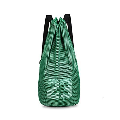 HTTC No. 23 Bolsa de Baloncesto con cordón, Bolsa de Deportes de natación a Prueba de Agua, Adecuada para Baloncesto, fútbol, Bolso de Deportes de Voleibol. Green