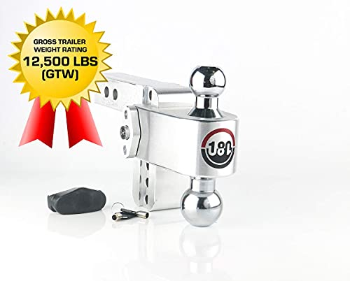 Weigh Safe 180 HITCH CTB4-2 4' Drop Hitch, 2' Receiver 12,500 LBS GTW - Adjustable Aluminum Trailer Hitch Ball Mount & Chrome Plated Steel Combo Ball, Dual Pin Keyed Lock