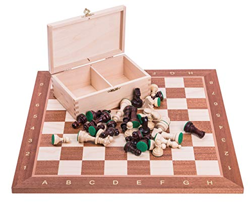 Square - Profesional Ajedrez de Madera Nº 4 - Caoba - Tablero de ajedrez + Figuras - Staunton 4