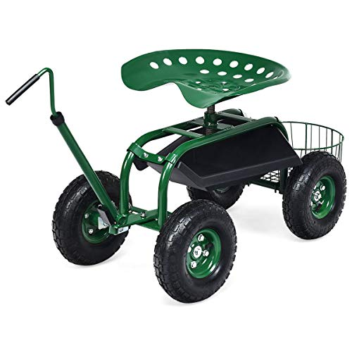 Goplus Garden Cart Gardening Workseat w/Wheels, Patio Wagon Scooter for Planting, Work Seat with Tool Tray and Basket (Length Adjustable Hook Handle)