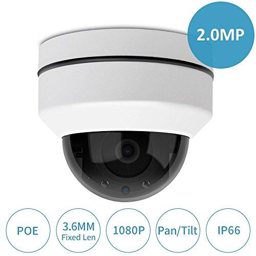 LEFTEK 3.6MM Pan/Tilt IP Camera Esterno Motorizzata 1080P HD Telecamere PoE Motorizzata Videocamera di Sorveglianza con visione notturna,sensore di movimento,H.265 per ONVIF e Hikvision NVR