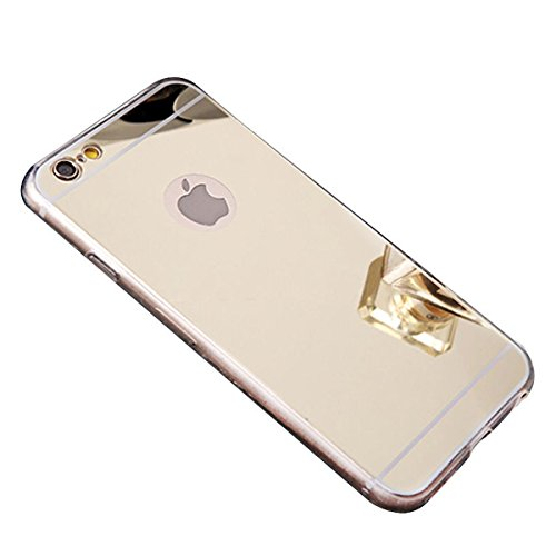 Hpory Kompatibel mit Spiegel Handytasche for iPhone 7 Plus/iPhone 8 Plus, Silicone Handyhüllen Spiegel Glänzend Hülle Ultradünnen TPU Back Case Tasche Schutzhülle + 1 x Stylus-(Champagner Gold)