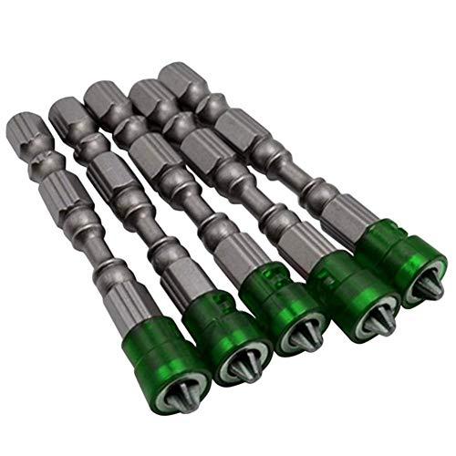 FLY MEN Herramientas profesionales 5pcs destornillador magnético bit puesto PH2 eléctricos puntas de destornillador S2 antideslizante de 1/4' Herramientas vástago hexagonal de una sola cabeza y Eléctr