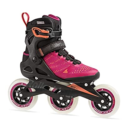 Rollerblade Macroblade 110 3WD Womens Adult Fitness Inline Skate, Raspberry and Mango, Performance Inline Skates