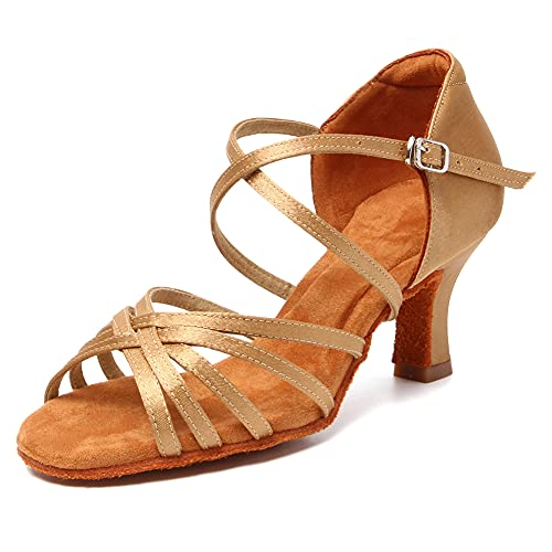 HIPPOSEUS Zapatos de Baile Latino para Mujer Zapatos Marrón Claro de Punta Abierta para salón de Baile Zapatos de Baile de Salsa Latina,37 EU
