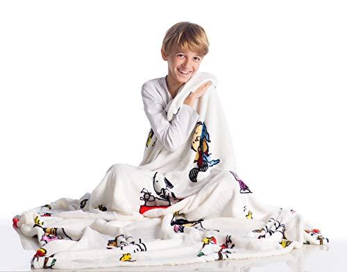 Kanguru Snoopy Kuscheldecke aus weichem Fleece Weich und warm Mikrofaser, Weihnachten oder für Bequeme Relax Couch, TV Plaid Peanuts 130x 170cm, 100% Polyester, Weiß, Einheitsgröße