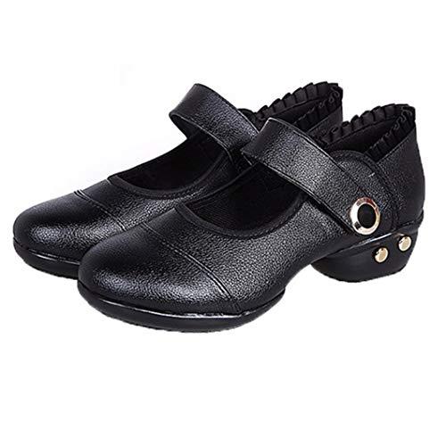 Frauen Tanzschuhe Soft Bottom Buckle Schuhe mit mittleren Absätzen Blockabsatz Knöchelriemen Pumps Shallow Mouth High Heels
