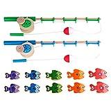 POPETPOP 1 Juego de Pesca de Madera Juguete para Niños Alfabeto Pesca Conteo de Peces Preescolar Juegos de Mesa Juguetes para Niñas Niños Cumpleaños Aprendizaje de Matemáticas