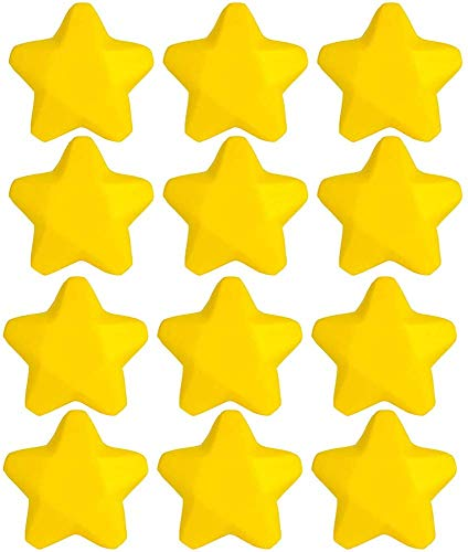 Kicko 2.5 Inch Star - 12 Pack Yellow Squeeze Toy - Parties, Hand therapy, Anxiety Reliever, Venue Decoration, Motor Workout, Playtime Activity, Small Game Prizes