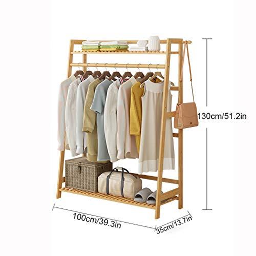 Garment Clothing Rack Bambus Holz hängende Kleiderständer und 2-Tier-Schuh-Kleidung-Speicher-Organisator-Regale (größe : L)