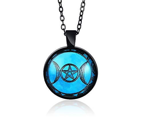 XUANPAI Triple Moon Goddess Pendants,Tree of Life Pentagram Necklaces Witch Wiccans Talisman Pendant Wiccan Pagan Jewellery Amulet for Men Women