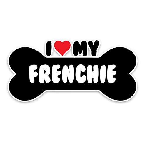 15 * 7.1CM I Heart My Frenchie Bulldog Bone PVC Car Bumper Car Sticker Decals-4PCS