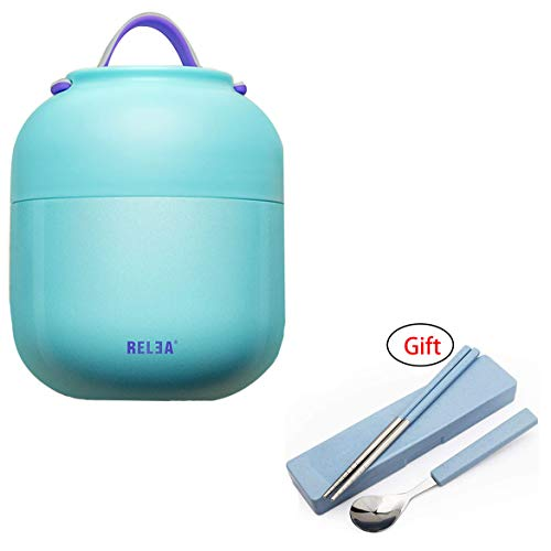 Tentock 500ml Food Mug Stainless Steel Insulated Vaccum Jug Food Porridge Container for School Travel, Keep Cold or Warm(blue)