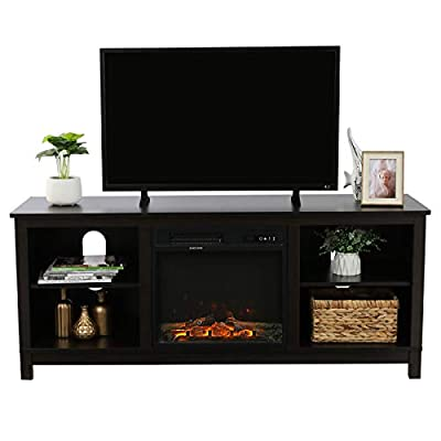 VINGLI Espresso Fireplace TV Stand, Media Center with Fireplace, Electric Fireplace Console, TV Cabinets with Fireplace for TV up to 60'' with Remote Control