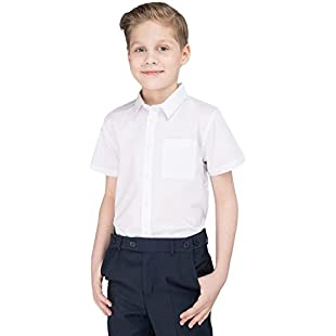 ex BHS Boys School Shirt (Twin-Pack) Short Sleeved Non Iron Easy Care Ages 4-16 Regular Fit/Generous Sturdy Plus Stocky Fit