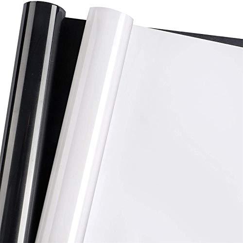 BAKHK 2er Set Plotterfolie Textil, 30.5cm× 1.5m Wärmeübertragung Vinyl Textilfolien Flexfolie, 2 Farben zum Aufbügeln von T-Shirts Dokumentenmappe mit Teflonfolien (Schwarz und Weiß)