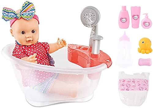 deAO Il Set da Bagno per Bambole Include Vasca da Bagno con funzioni e Accessori per l'acqua Reale
