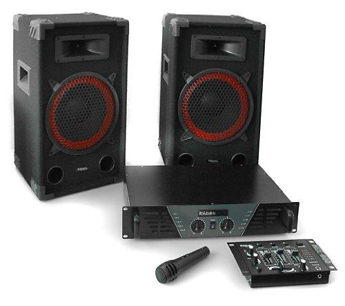Equipo Sonido DJ Ibiza 300 Set 2X Altavoz PA (Amplificador 480W Potencia,...