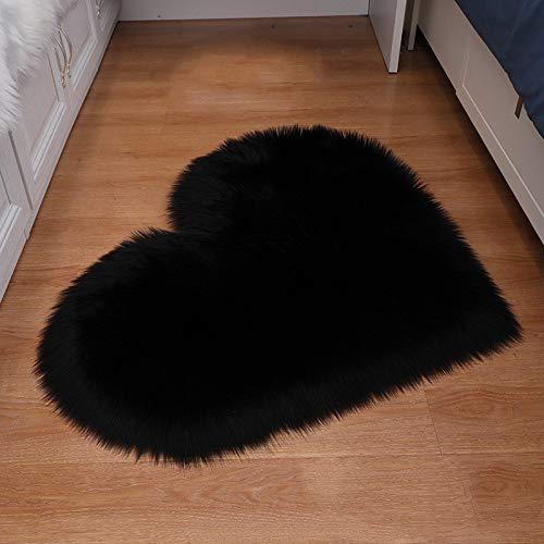 ZXXY Alfombra de Piel Artificial, Alfombra de Alfombra esponjosa en Forma de corazón en la Alfombra de Piel Artificial de la Oficina del Dormitorio en casa - Negro