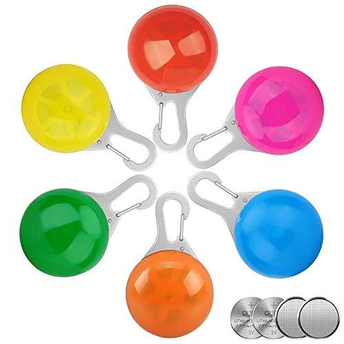 Homeet 6 Pcs Sicherheits Clip-On LED Blinklicht Hunde LED Licht Leuchtanhänger Schlüsselanhänger Haustier Sicherheitslicht 3 Blinkmodis für Hund,Läufer,Jogger,Fahrradfahrer(Batterie inkl)