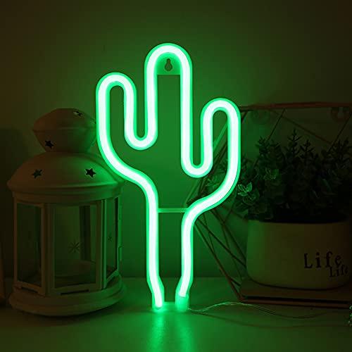 Cactus luz de neón del USB LED Luces Cactus lámpara de pared decoración de la habitación con pilas luces de neón verde de neón signos Cactus Lámparas de luz para los niños dormitorio Barra de-Cactus
