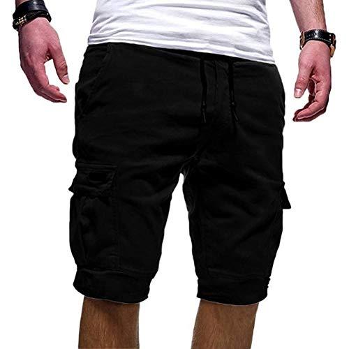 B/H Shorts de Corte Slim Hombre Bañador de Natación,Pantalones Cortos Sueltos y Transpirables Multibolsillos, Pantalones Cortos Deportivos para Trotar-Black_XXXL,bañador para Hombre Nautica