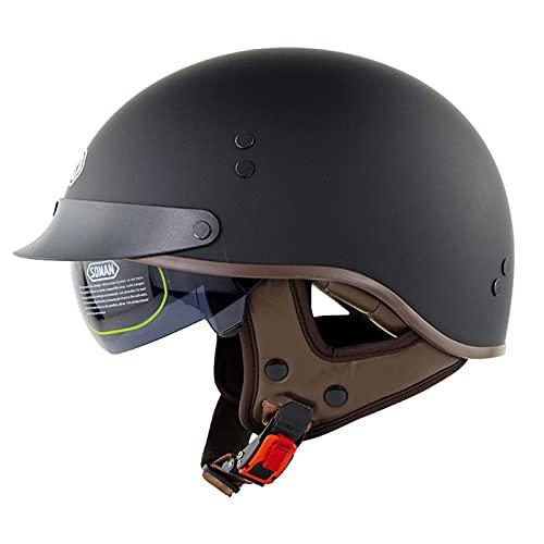 Casco de motocicleta para adultos, con visera solar para hombres y mujeres, certificación DOT/ECE de verano con estilo alemán para ciclismo, scooter de motocross (color E)