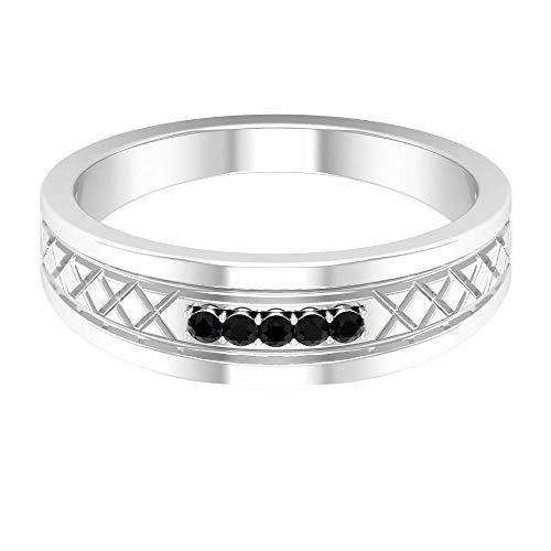 Black Diamond Band Ring, 5 Stone Ring (AAA Quality), 14K White Gold, Size:UK W