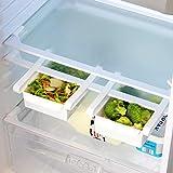 Pukkr Paquete de 4 cajones de caja de almacenamiento para refrigerador | Frigorífico Bandeja De Frutas Y Verduras | Compartimentos adicionales universales