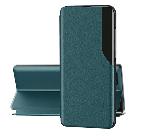 Handyhülle Kompatibel Mit Samsung A50 Hülle Leder, Samsung Galaxy A50 Hülle Schutzhülle Flip, Handytasche Schwarz (Grün, Samsung A50)